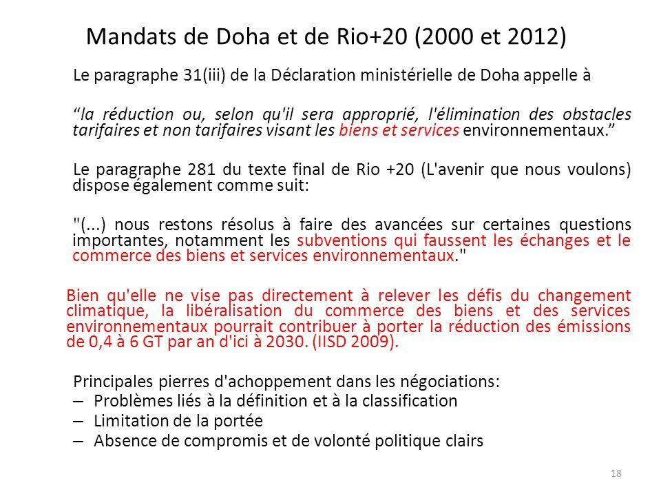 Mandats de Doha et de Rio+20 (2000 et 2012) 18 Le paragraphe 31(iii) de la Déclaration ministérielle de Doha appelle à la réduction ou, selon qu'il se