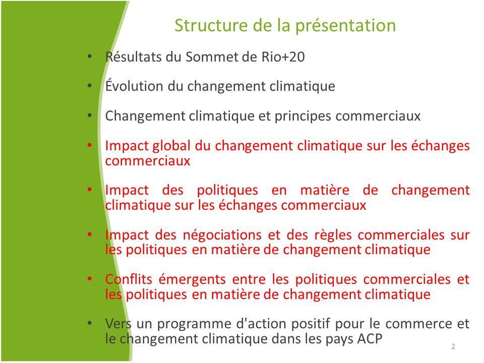 Structure de la présentation Résultats du Sommet de Rio+20 Évolution du changement climatique Changement climatique et principes commerciaux Impact gl