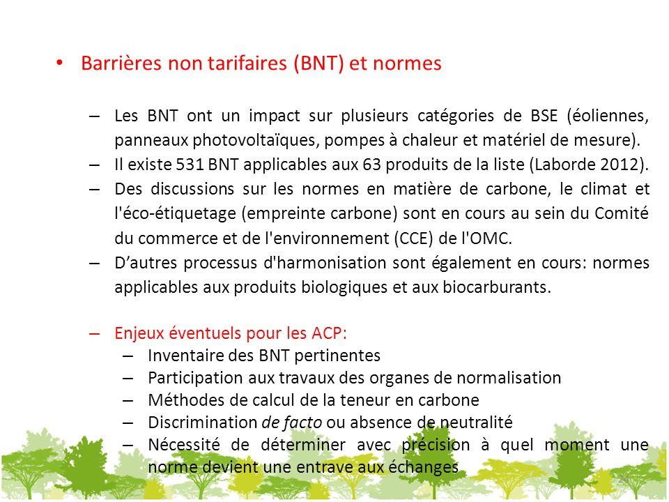 Barrières non tarifaires (BNT) et normes – Les BNT ont un impact sur plusieurs catégories de BSE (éoliennes, panneaux photovoltaïques, pompes à chaleu