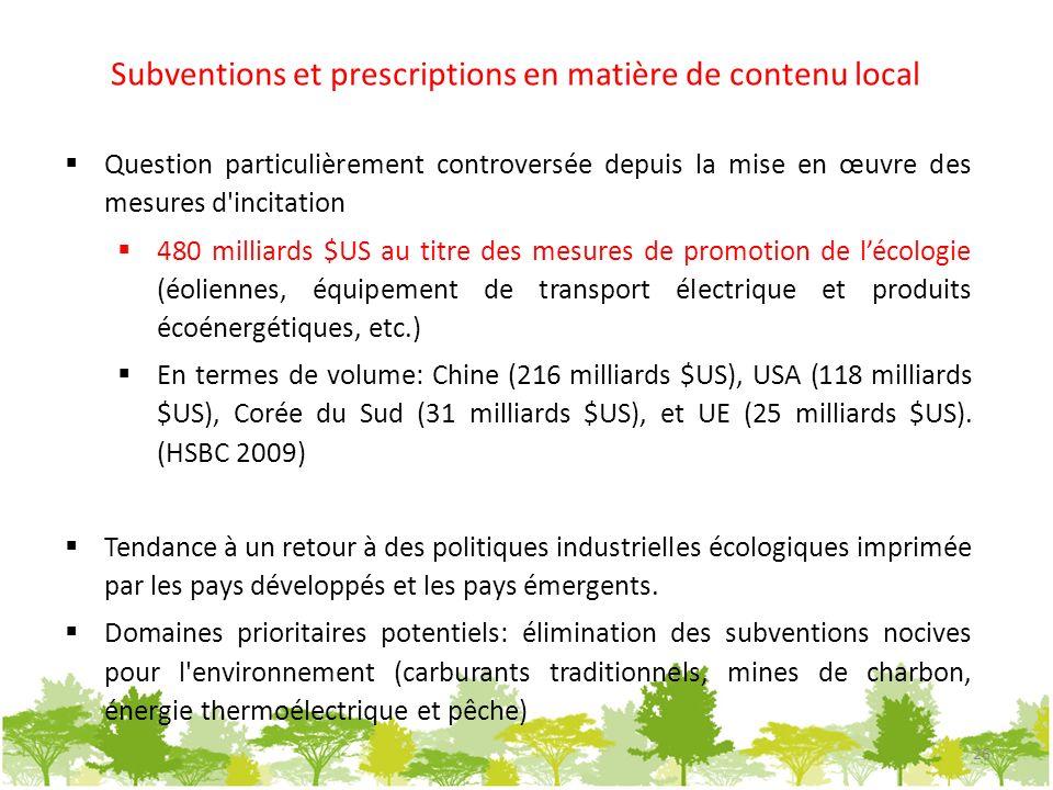 Subventions et prescriptions en matière de contenu local Question particulièrement controversée depuis la mise en œuvre des mesures d'incitation 480 m