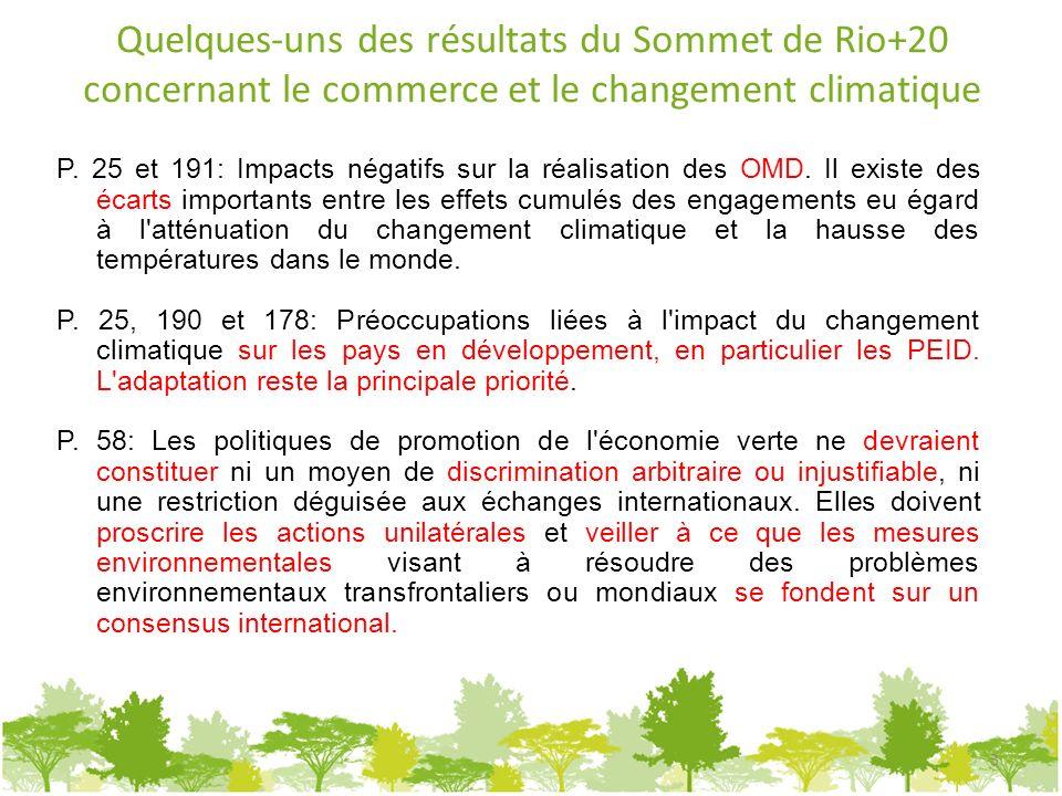 Quelques-uns des résultats du Sommet de Rio+20 concernant le commerce et le changement climatique P. 25 et 191: Impacts négatifs sur la réalisation de