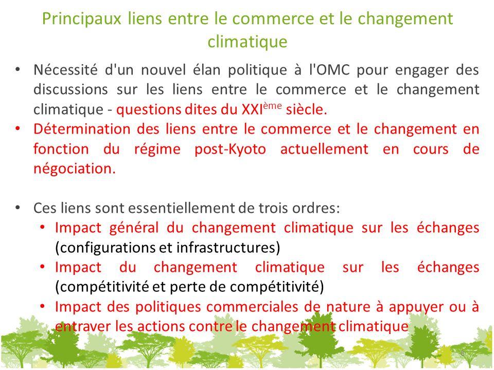 Principaux liens entre le commerce et le changement climatique Nécessité d'un nouvel élan politique à l'OMC pour engager des discussions sur les liens