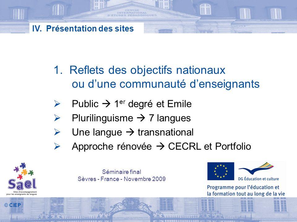 © CIEP 1. Reflets des objectifs nationaux ou dune communauté denseignants Public 1 er degré et Emile Plurilinguisme 7 langues Une langue transnational