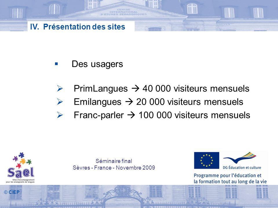© CIEP Des usagers IV. Présentation des sites PrimLangues 40 000 visiteurs mensuels Emilangues 20 000 visiteurs mensuels Franc-parler 100 000 visiteur