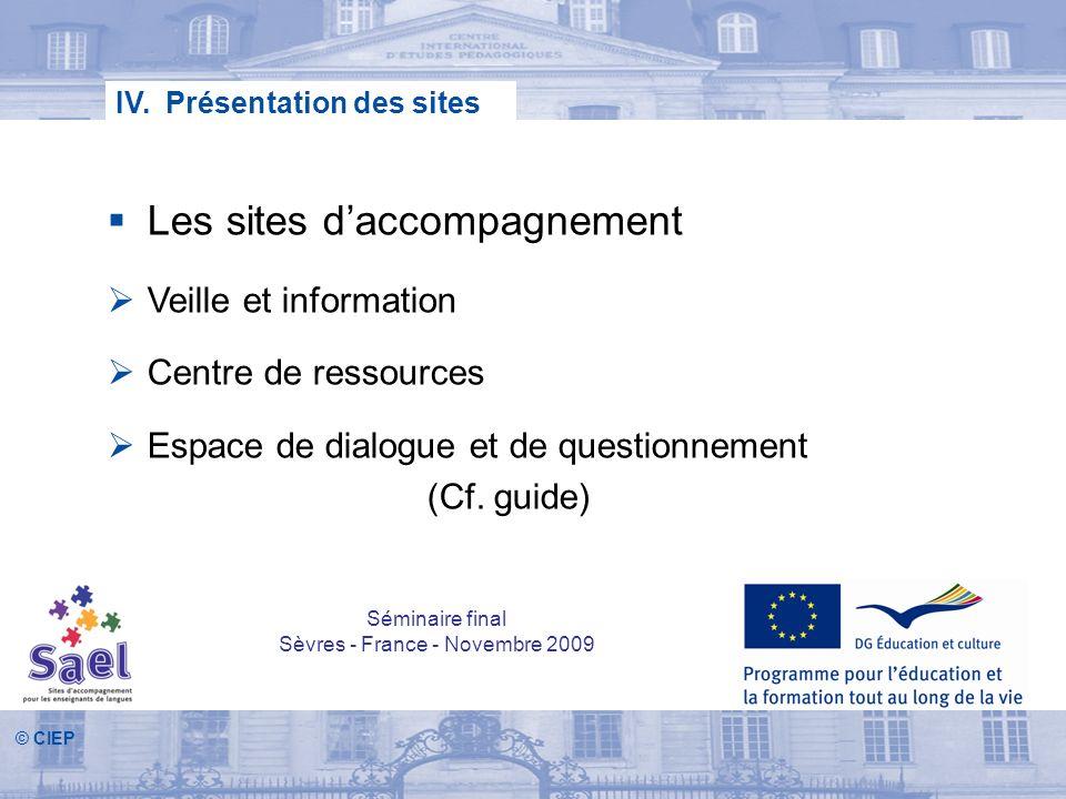 IV. Présentation des sites Les sites daccompagnement Veille et information Centre de ressources Espace de dialogue et de questionnement (Cf. guide) Sé