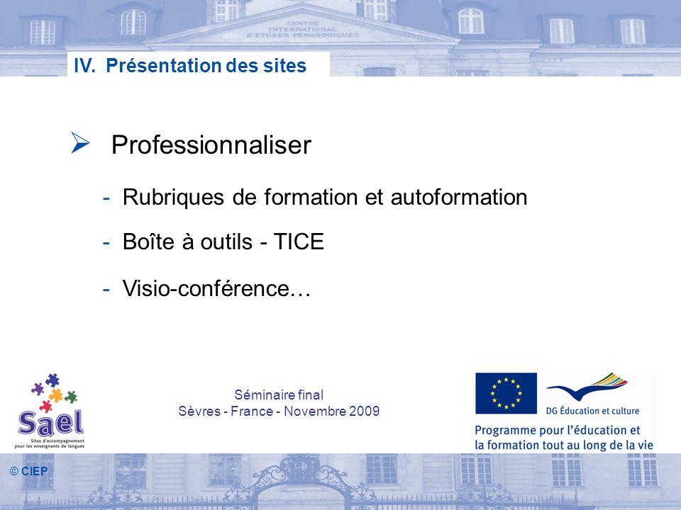 © CIEP IV. Présentation des sites Professionnaliser - Rubriques de formation et autoformation - Boîte à outils - TICE - Visio-conférence… Séminaire fi