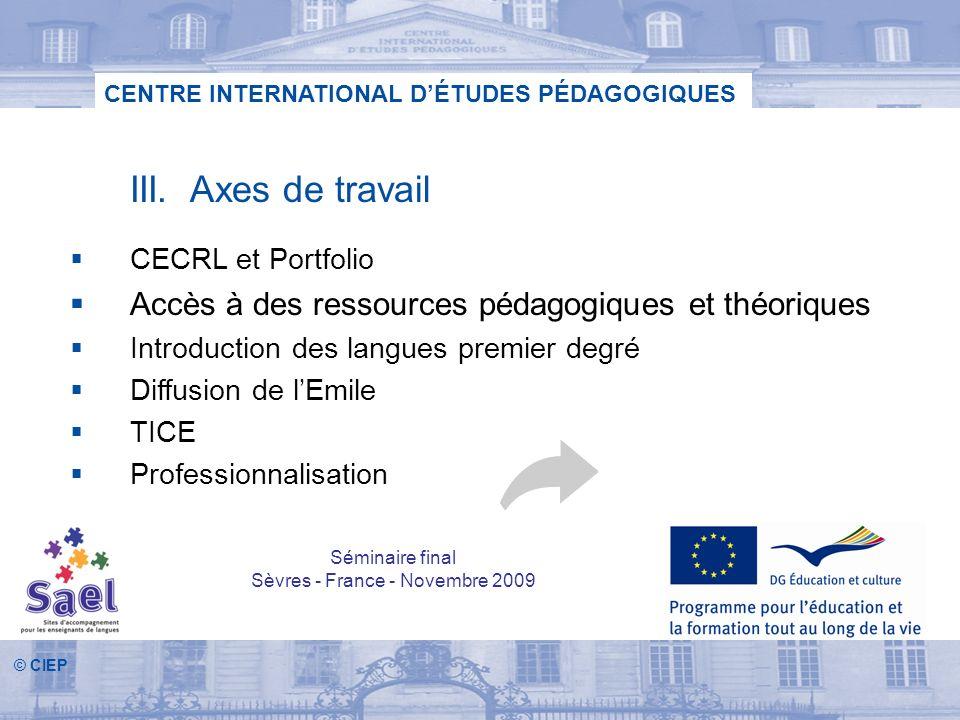 © CIEP CENTRE INTERNATIONAL DÉTUDES PÉDAGOGIQUES III. Axes de travail CECRL et Portfolio Accès à des ressources pédagogiques et théoriques Introductio