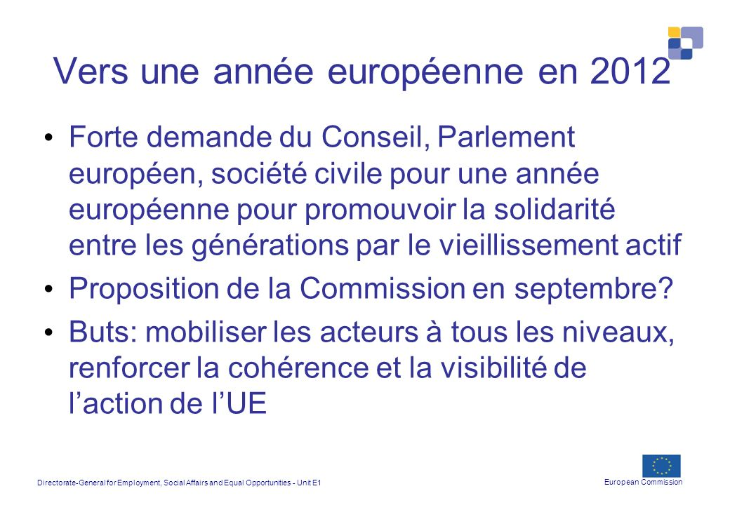 Directorate-General for Employment, Social Affairs and Equal Opportunities - Unit E1 European Commission Vers une année européenne en 2012 Forte deman