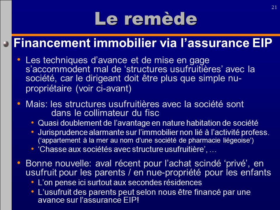 21 Le remède Financement immobilier via lassurance EIP Les techniques davance et de mise en gage saccommodent mal de structures usufruitières avec la