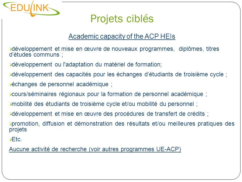 Projets ciblés Academic capacity of the ACP HEIs développement et mise en œuvre de nouveaux programmes, diplômes, titres détudes communs ; développeme
