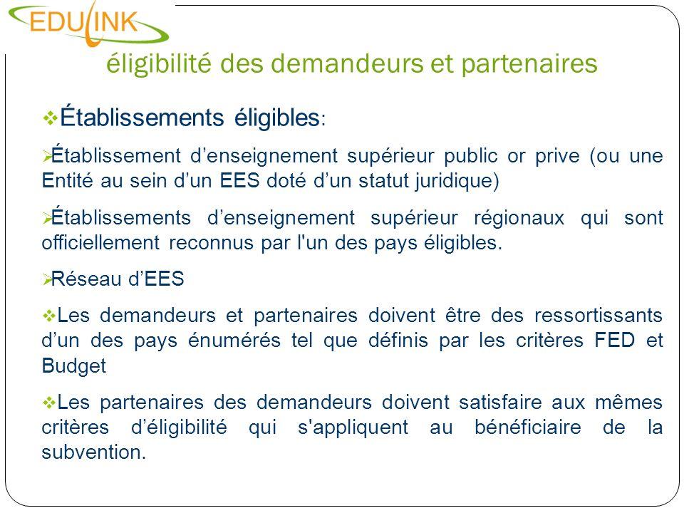 éligibilité des demandeurs et partenaires Établissements éligibles : Établissement denseignement supérieur public or prive (ou une Entité au sein dun