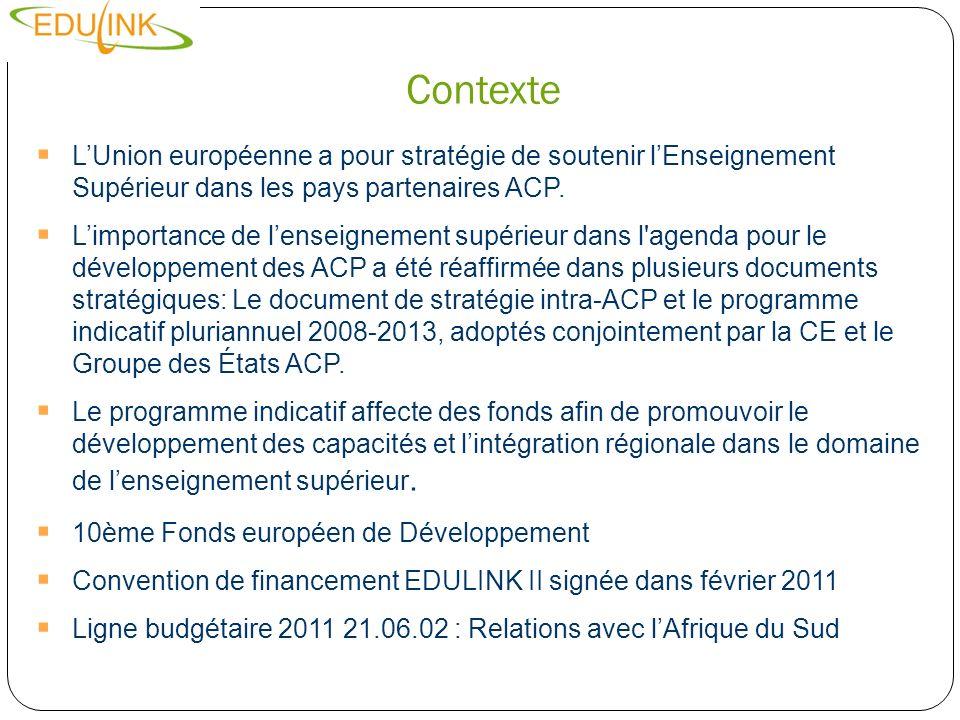 Contexte LUnion européenne a pour stratégie de soutenir lEnseignement Supérieur dans les pays partenaires ACP. Limportance de lenseignement supérieur
