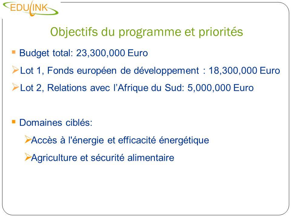 Objectifs du programme et priorités Budget total: 23,300,000 Euro Lot 1, Fonds européen de développement : 18,300,000 Euro Lot 2, Relations avec lAfri