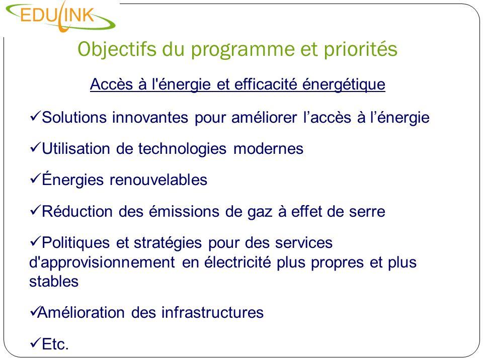 Objectifs du programme et priorités Accès à l'énergie et efficacité énergétique Solutions innovantes pour améliorer laccès à lénergie Utilisation de t