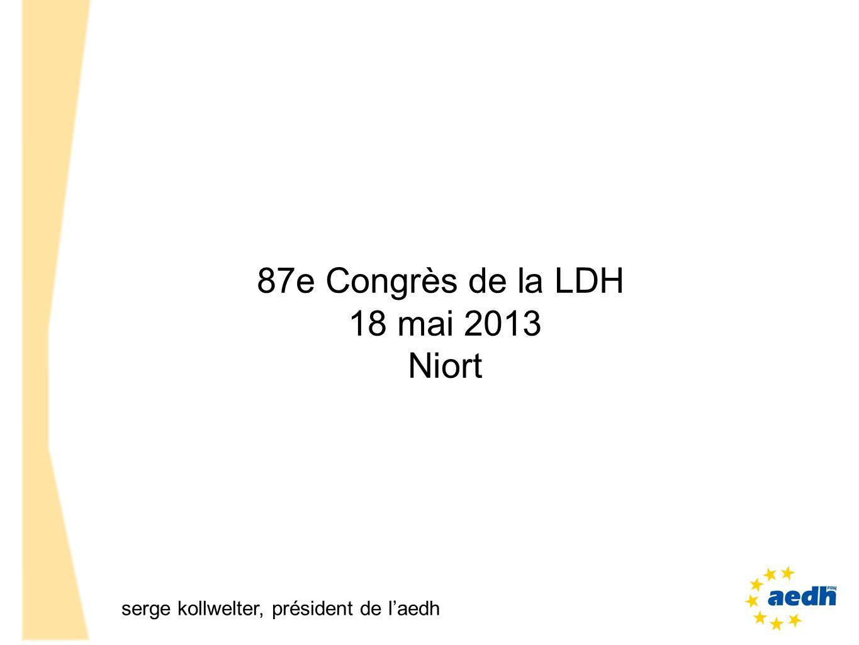 87e Congrès de la LDH 18 mai 2013 Niort serge kollwelter, président de laedh
