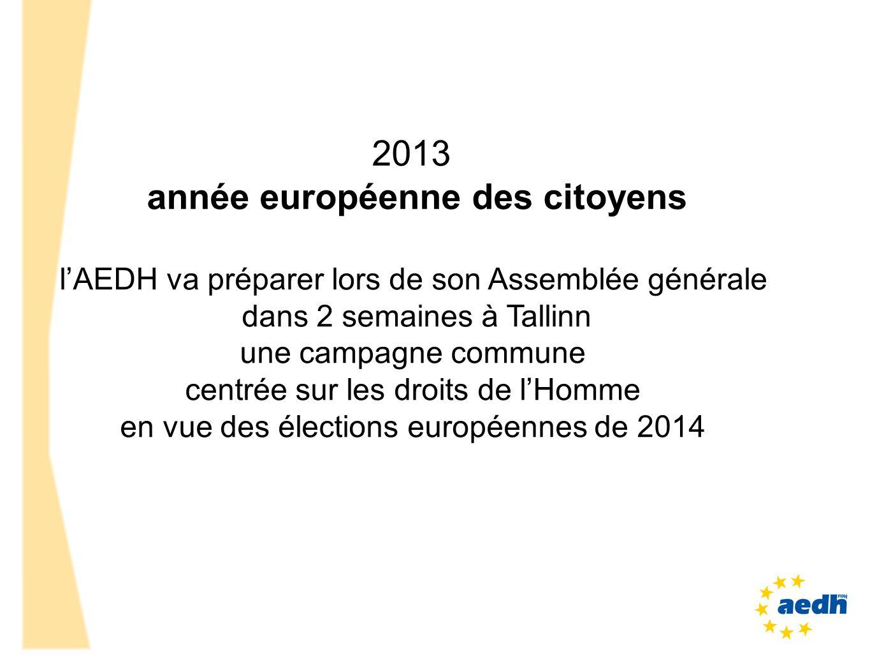 2013 année européenne des citoyens lAEDH va préparer lors de son Assemblée générale dans 2 semaines à Tallinn une campagne commune centrée sur les dro