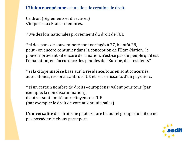 LUnion européenne est un lieu de création de droit. Ce droit (règlements et directives) simpose aux Etats - membres. 70% des lois nationales provienne