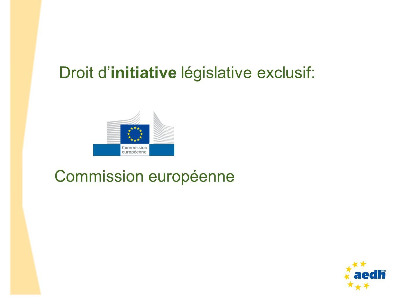 Commission européenne Droit dinitiative législative exclusif: