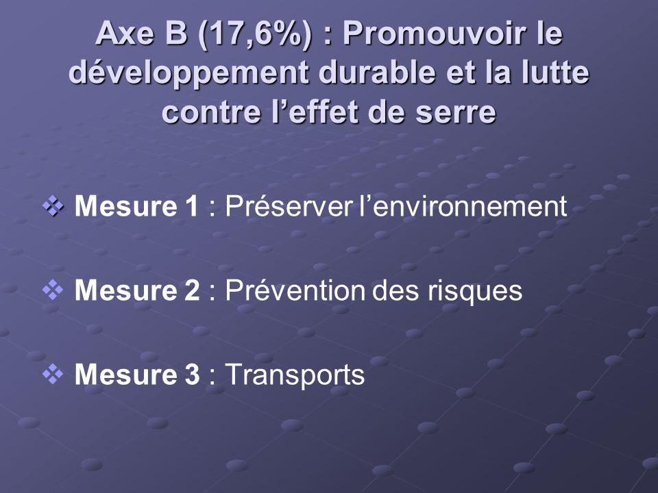 Axe B (17,6%) : Promouvoir le développement durable et la lutte contre leffet de serre Mesure 1 : Préserver lenvironnement Mesure 2 : Prévention des r