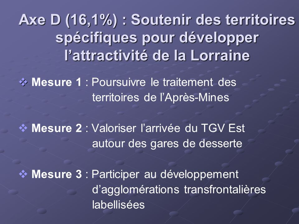 Axe D (16,1%) : Soutenir des territoires spécifiques pour développer lattractivité de la Lorraine Mesure 1 : Poursuivre le traitement des territoires