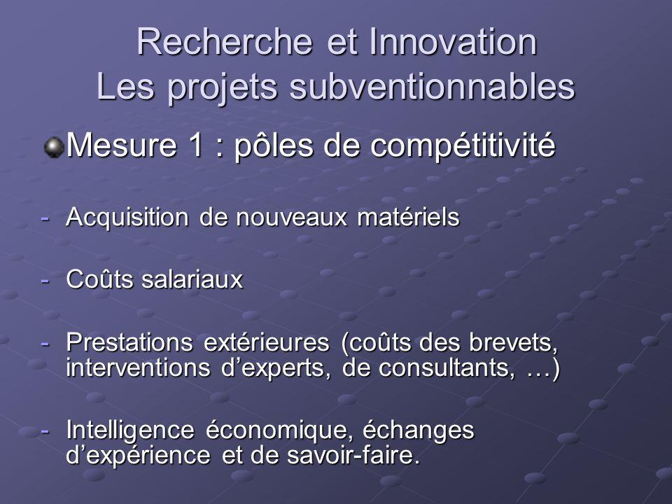 Recherche et Innovation Les projets subventionnables Mesure 1 : pôles de compétitivité -Acquisition de nouveaux matériels -Coûts salariaux -Prestation