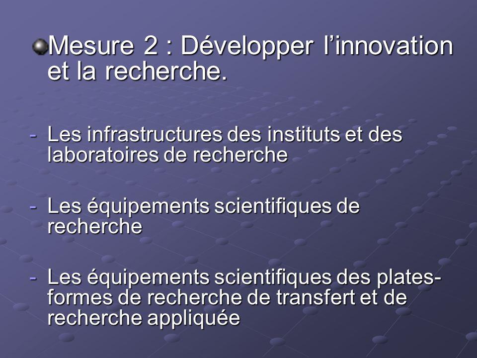 Mesure 2 : Développer linnovation et la recherche. -Les infrastructures des instituts et des laboratoires de recherche -Les équipements scientifiques