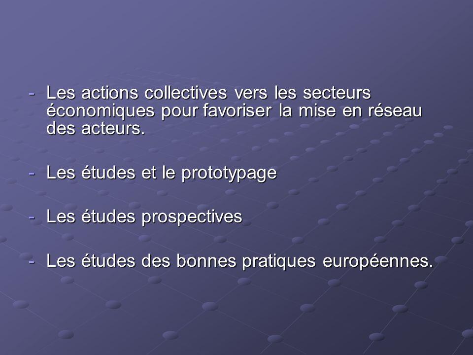 -Les actions collectives vers les secteurs économiques pour favoriser la mise en réseau des acteurs. -Les études et le prototypage -Les études prospec