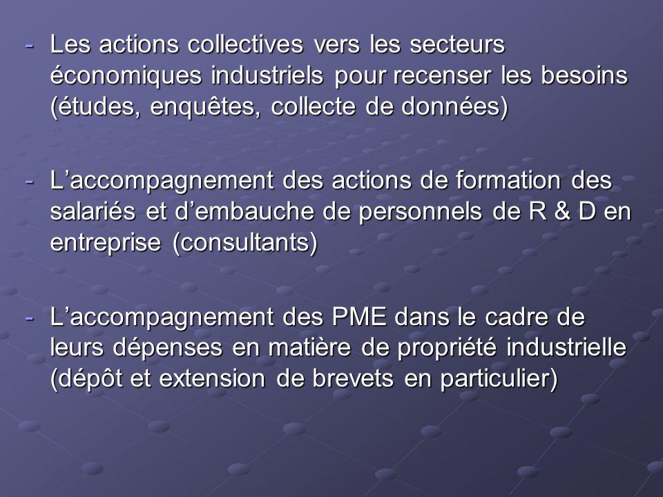 -Les actions collectives vers les secteurs économiques industriels pour recenser les besoins (études, enquêtes, collecte de données) -Laccompagnement