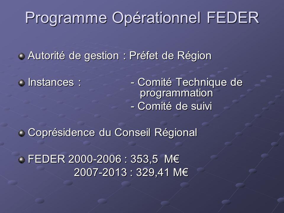 Programme Opérationnel FEDER Autorité de gestion : Préfet de Région Instances : - Comité Technique de programmation - Comité de suivi Coprésidence du