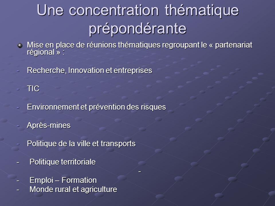 Une concentration thématique prépondérante Mise en place de réunions thématiques regroupant le « partenariat régional » : -Recherche, Innovation et en