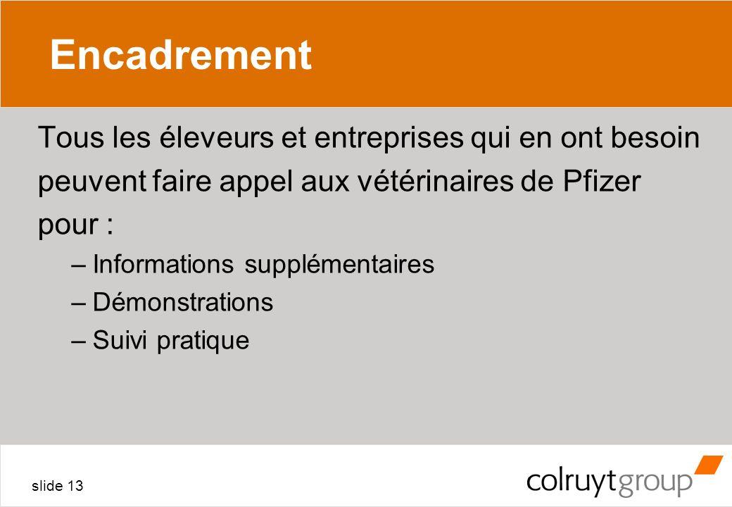 slide 13 Encadrement Tous les éleveurs et entreprises qui en ont besoin peuvent faire appel aux vétérinaires de Pfizer pour : –Informations supplément