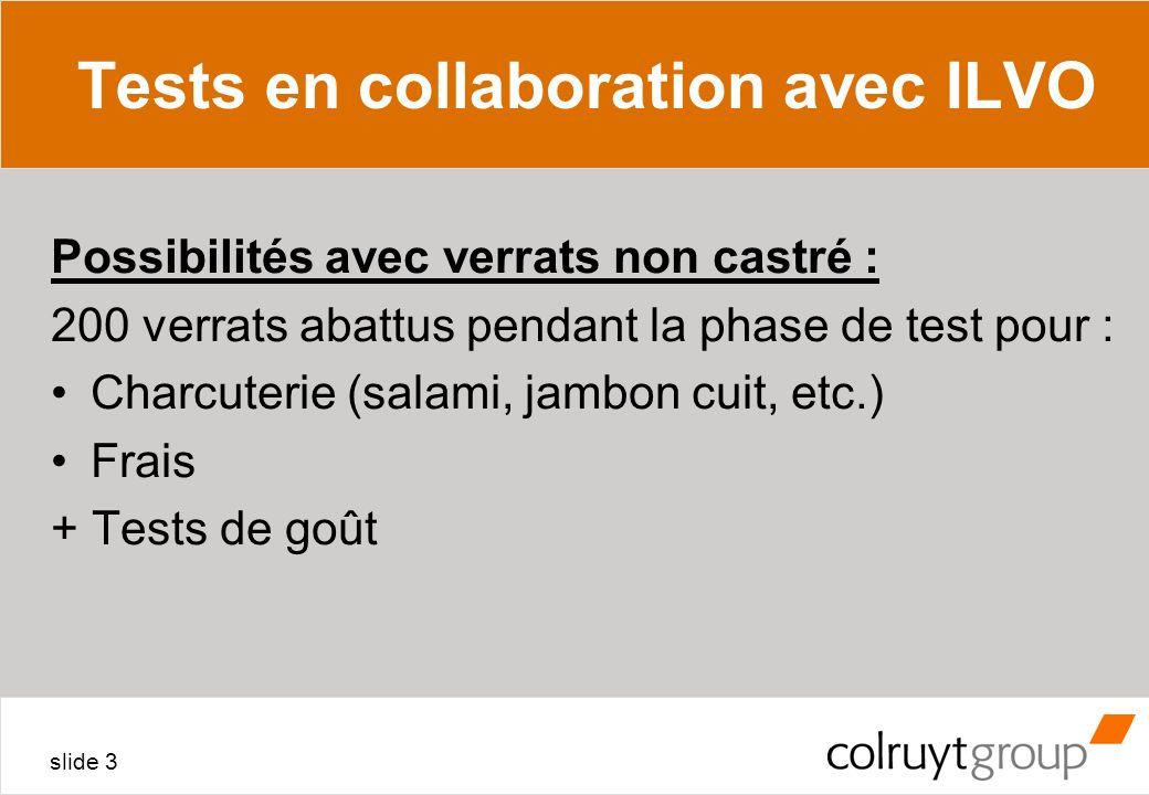 slide 3 Tests en collaboration avec ILVO Possibilités avec verrats non castré : 200 verrats abattus pendant la phase de test pour : Charcuterie (salam
