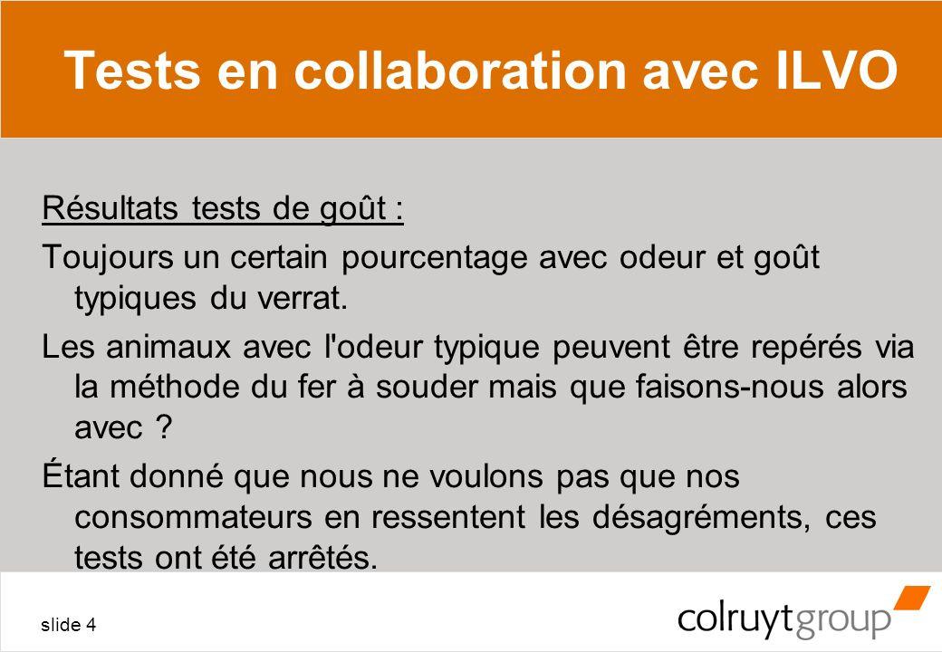 slide 4 Tests en collaboration avec ILVO Résultats tests de goût : Toujours un certain pourcentage avec odeur et goût typiques du verrat. Les animaux