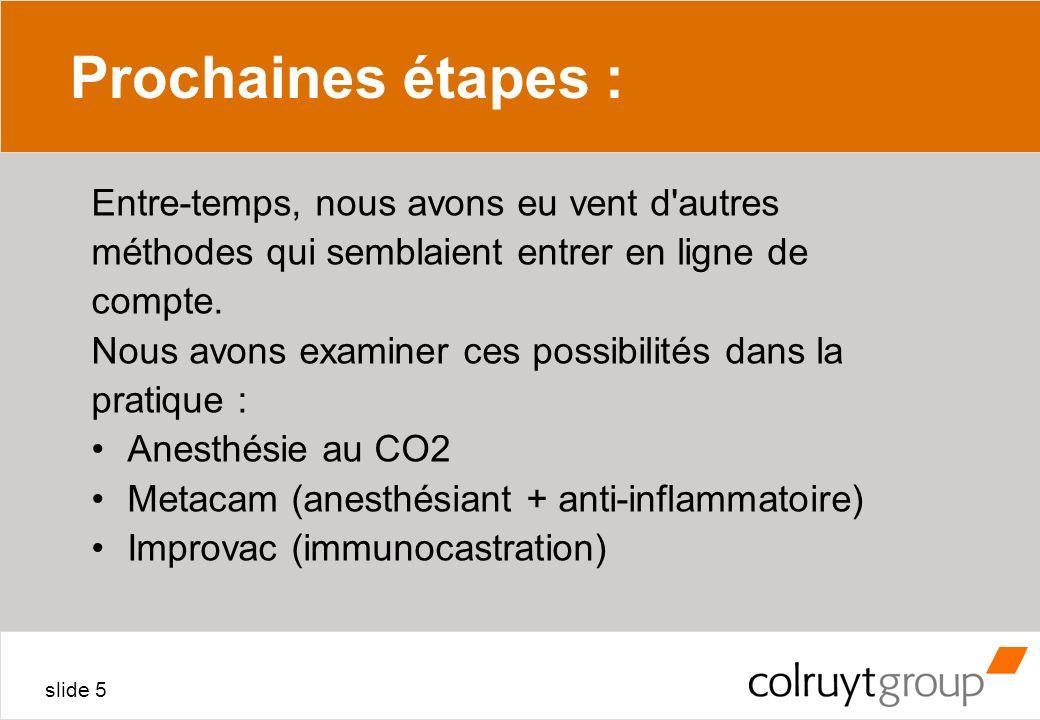 slide 5 Prochaines étapes : Entre-temps, nous avons eu vent d'autres méthodes qui semblaient entrer en ligne de compte. Nous avons examiner ces possib
