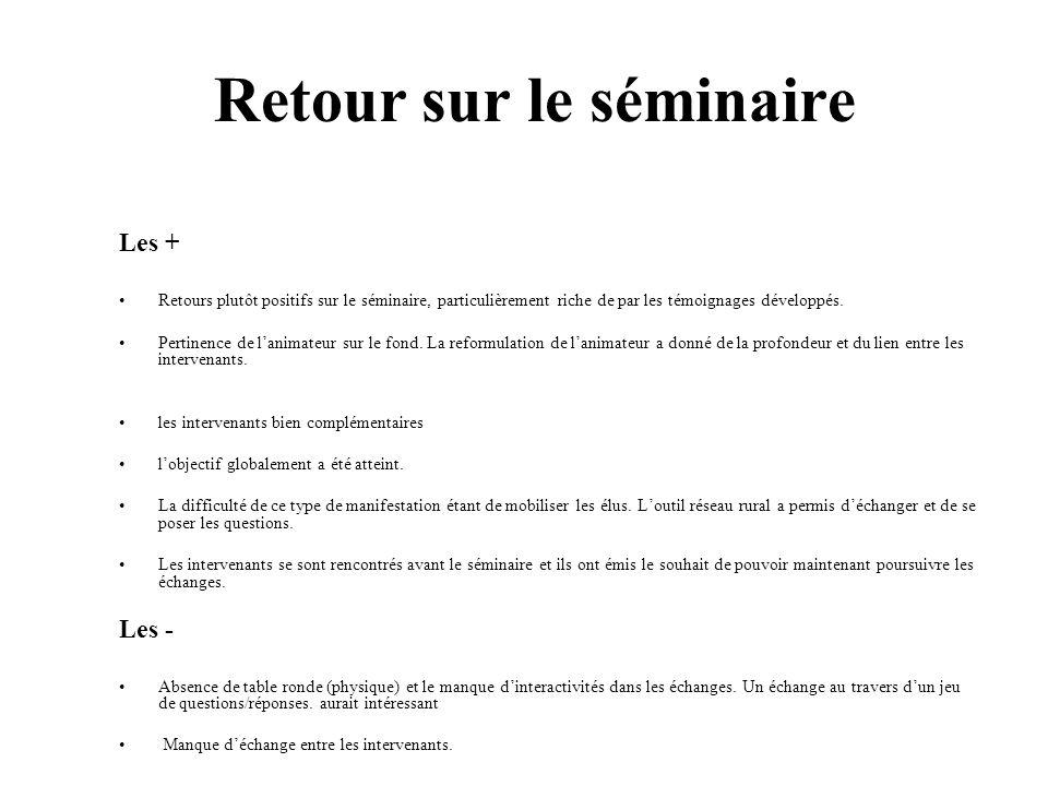 Retour sur le séminaire Les + Retours plutôt positifs sur le séminaire, particulièrement riche de par les témoignages développés. Pertinence de lanima