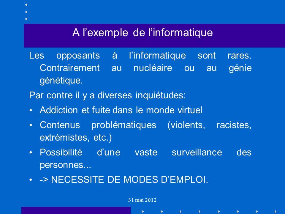 31 mai 2012 A lexemple de linformatique Les opposants à linformatique sont rares.