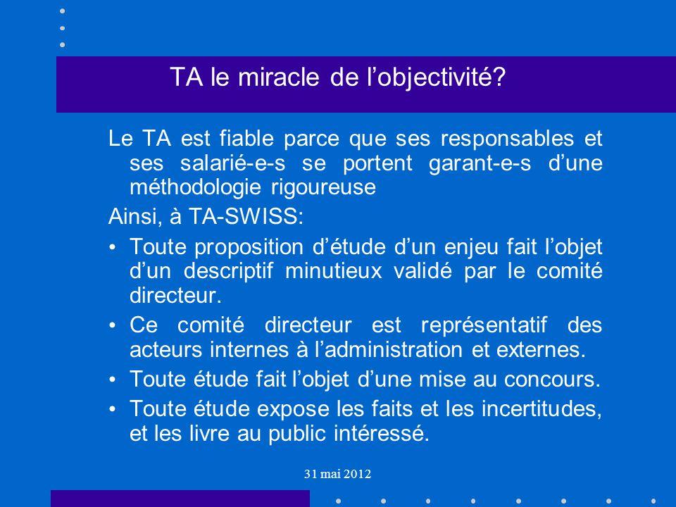31 mai 2012 TA le miracle de lobjectivité.