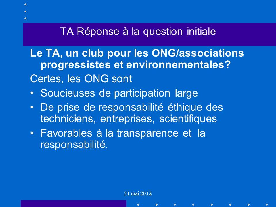 31 mai 2012 TA Réponse à la question initiale Le TA, un club pour les ONG/associations progressistes et environnementales.