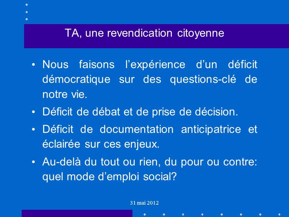31 mai 2012 TA, une revendication citoyenne Nous faisons lexpérience dun déficit démocratique sur des questions-clé de notre vie.