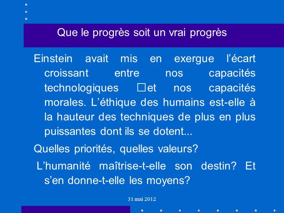 31 mai 2012 Que le progrès soit un vrai progrès Einstein avait mis en exergue lécart croissant entre nos capacités technologiques et nos capacités morales.