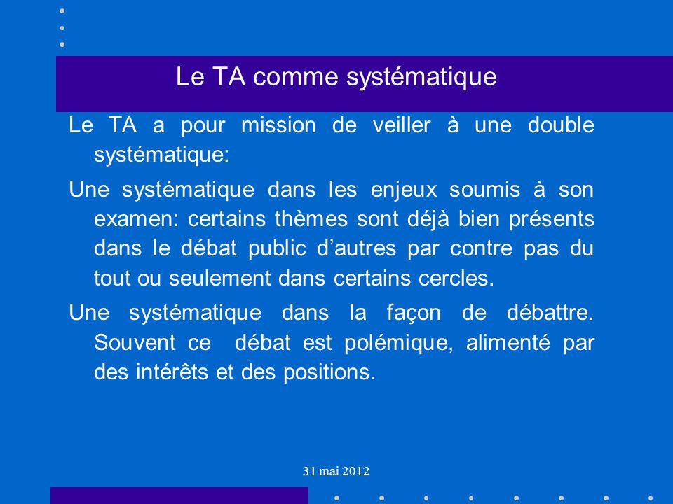 31 mai 2012 Le TA comme systématique Le TA a pour mission de veiller à une double systématique: Une systématique dans les enjeux soumis à son examen: certains thèmes sont déjà bien présents dans le débat public dautres par contre pas du tout ou seulement dans certains cercles.