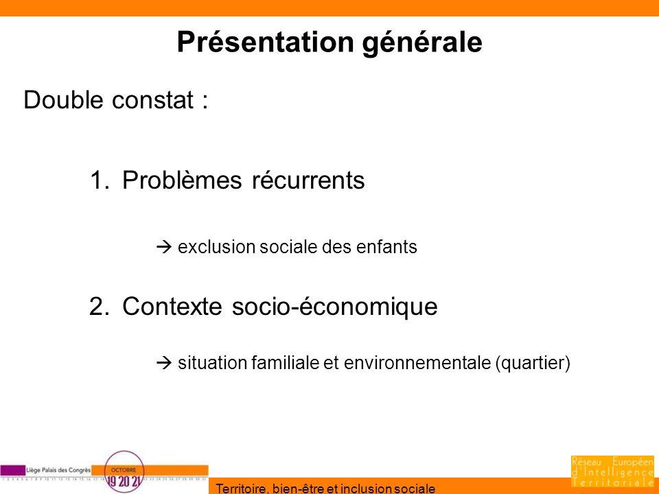 Territoire, bien-être et inclusion sociale Présentation générale Double constat : 1.Problèmes récurrents exclusion sociale des enfants 2.Contexte soci