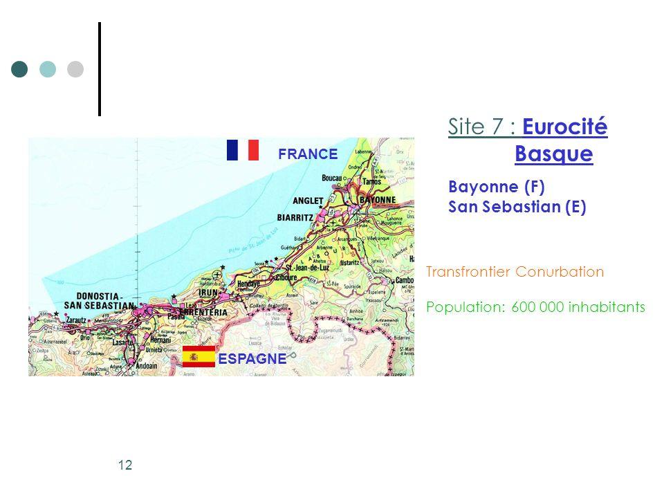 12 Transfrontier Conurbation Population: 600 000 inhabitants Site 7 : Eurocité Basque Bayonne (F) San Sebastian (E) FRANCE ESPAGNE