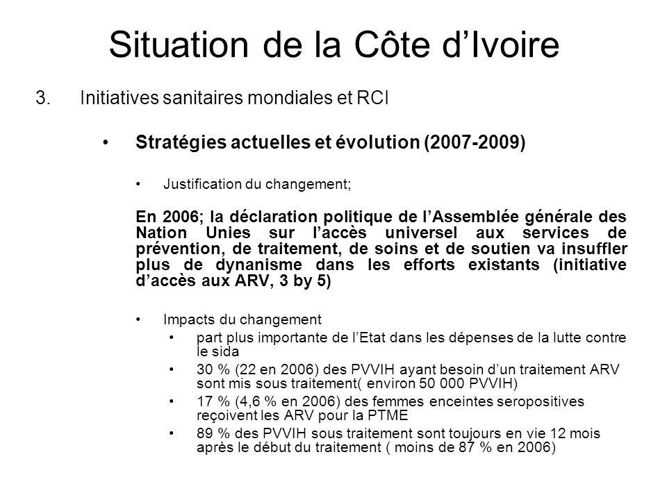Situation de la Côte dIvoire 3.Initiatives sanitaires mondiales et RCI Stratégies actuelles et évolution (2007-2009) Justification du changement; En 2