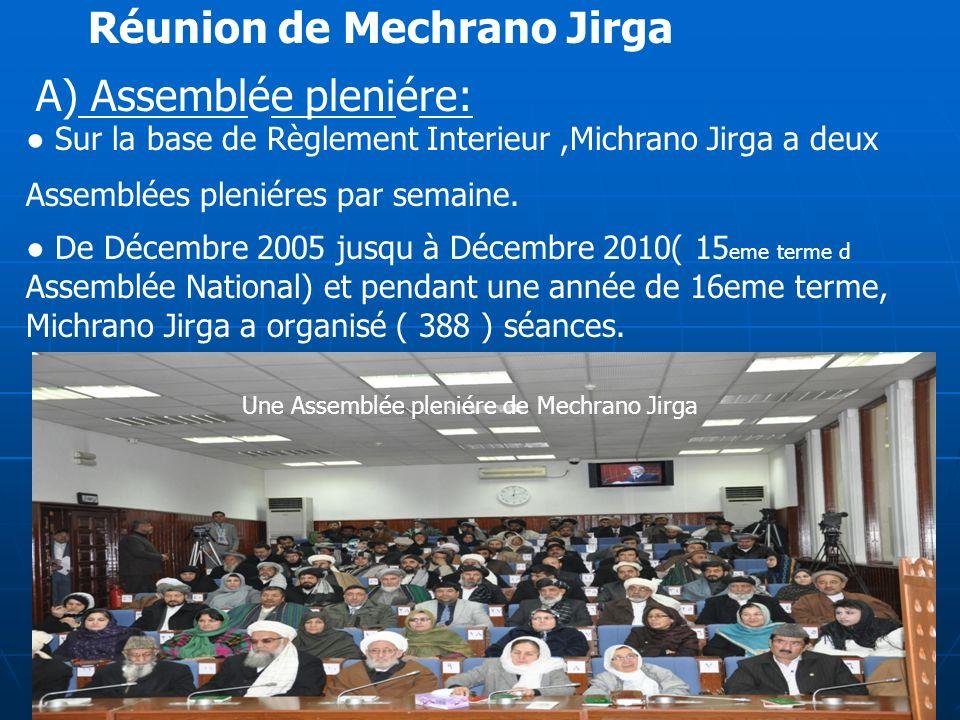10 Une Assemblée pleniére de Mechrano Jirga Réunion de Mechrano Jirga A) Assemblée pleniére: Sur la base de Règlement Interieur,Michrano Jirga a deux