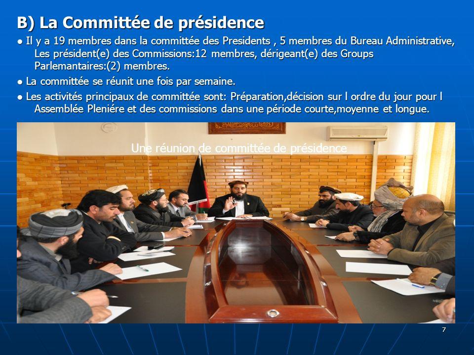 7 B) La Committée de présidence Il y a 19 membres dans la committée des Presidents, 5 membres du Bureau Administrative, Les président(e) des Commissio