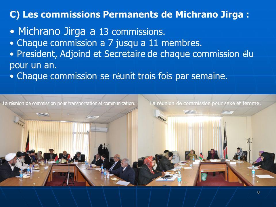 8 La réunion de commission pour sexe et femme. La réunion de commission pour transportation et communication. C) Les commissions Permanents de Michran