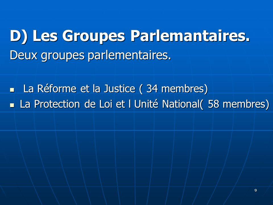 D) Les Groupes Parlemantaires. Deux groupes parlementaires. La Réforme et la Justice ( 34 membres) La Réforme et la Justice ( 34 membres) La Protectio