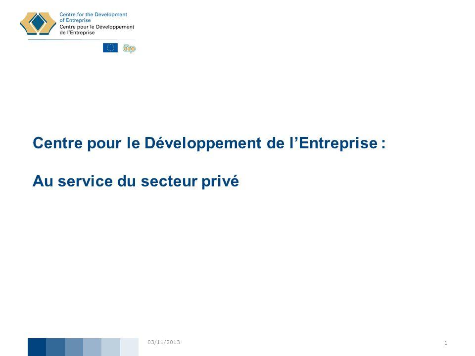 03/11/2013 1 Centre pour le Développement de lEntreprise : Au service du secteur privé