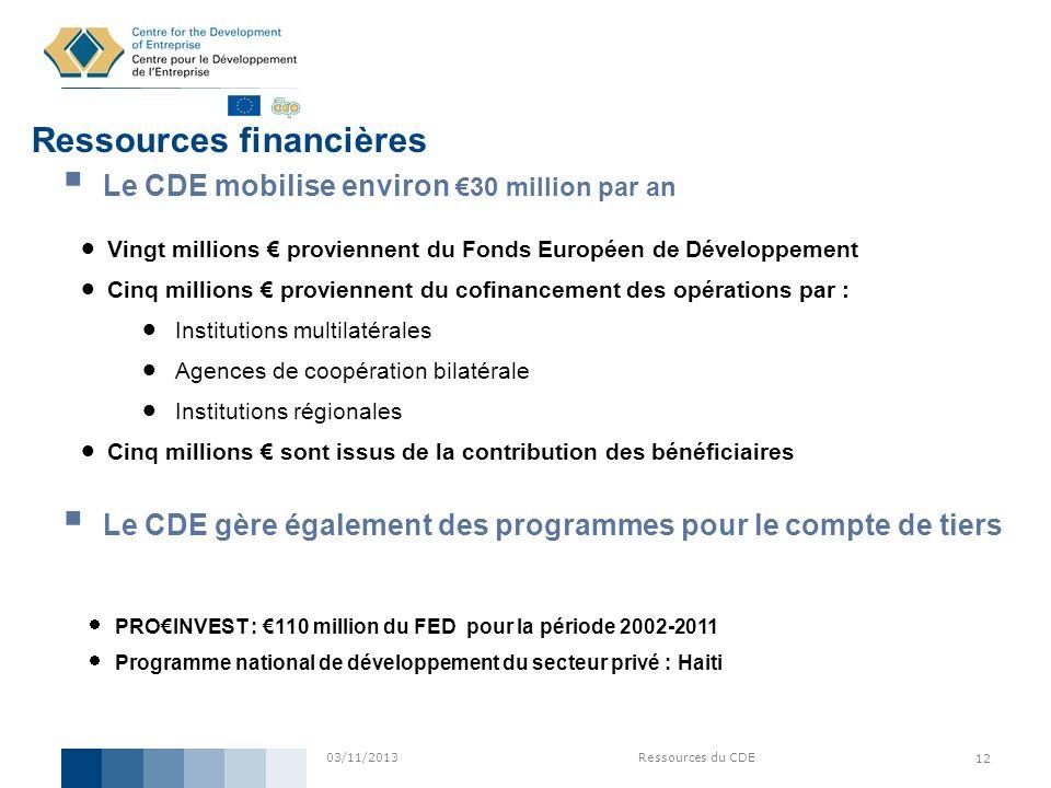 03/11/2013Ressources du CDE 12 Ressources financières Vingt millions proviennent du Fonds Européen de Développement Cinq millions proviennent du cofin